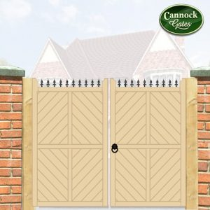 parquetry tall wooden driveway gates